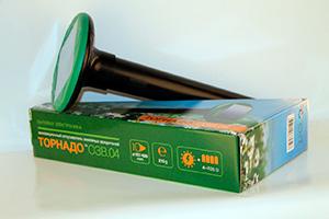 Упаковка вибросейсмического отпугивателя кротов на солнечной батарее Торнадо ОЗВ.04