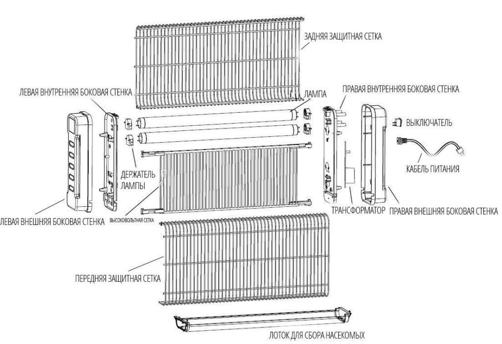 Схема инсектицидной лампы Noveen-ikn12