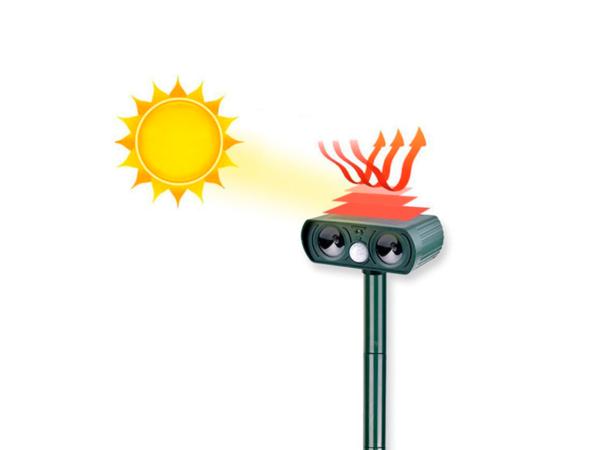 Схема работы солнечной панели ультразвукового отпугивателя кошек, собак, грызунов Garden Protector