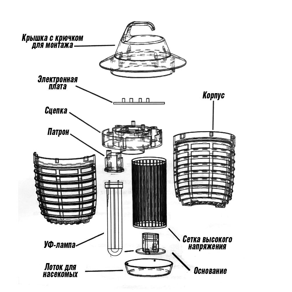 Схема инсектицидной лампы Noveen IKN-5