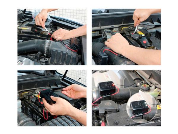 Процесс установки автомобильного отпугивателя грызунов MR-12