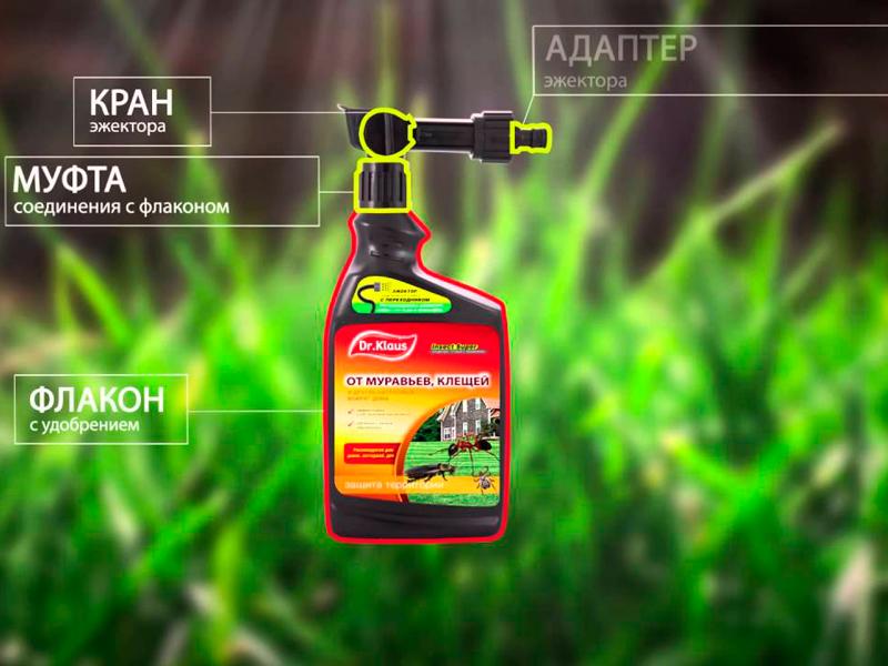 Конструкция флакона средства Dr. Klaus Insect Super