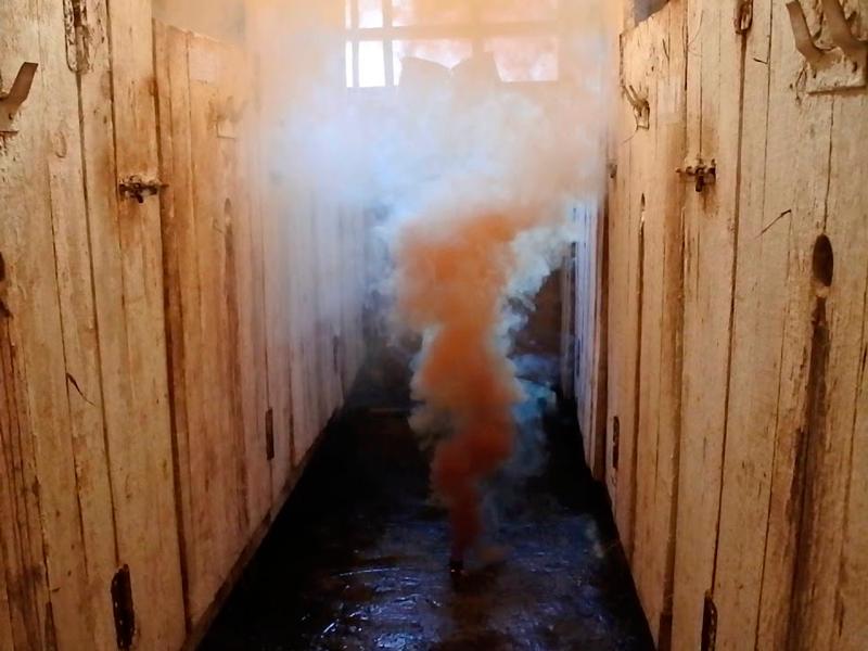 Процесс действия дымовой шашки «ВИМАЛ-ДЕЗ»