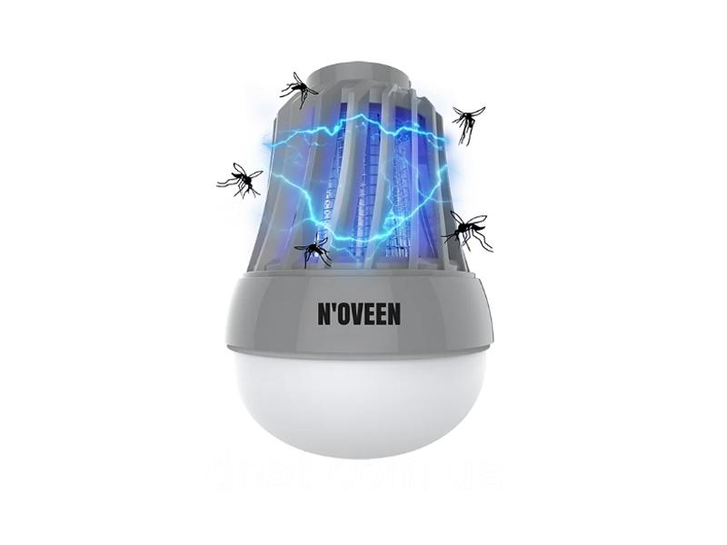 Процесс работы портативной светодиодной лампы от насекомых на батарейках Noveen IKN823 LED IPХ4